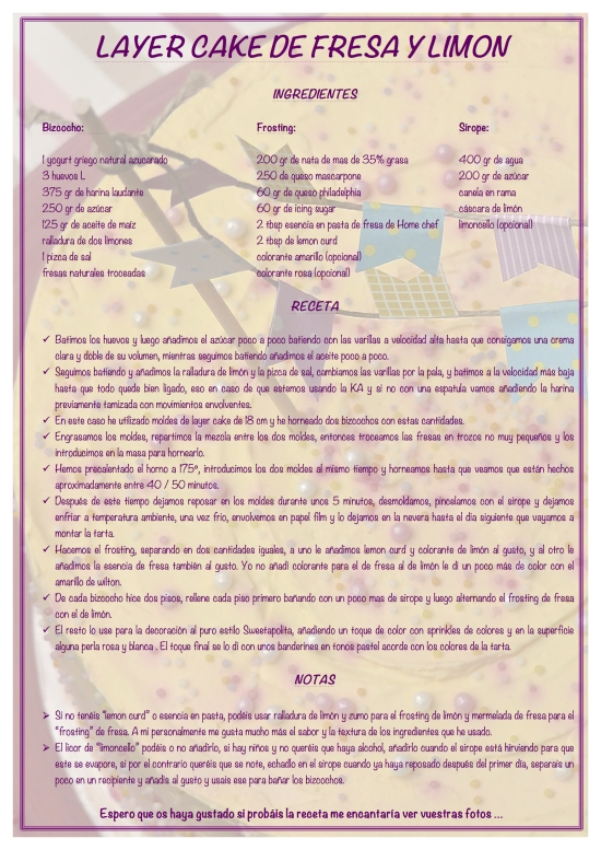 Layer cake de limon y fresa